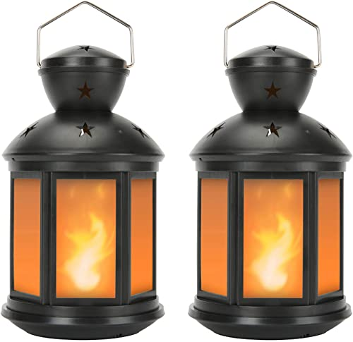 Vintage Decorative Lanterns Battery Powered LED, with 6 Hours Timer,Indoor/Outdoor,Small Lanterns Decor for Christmas...