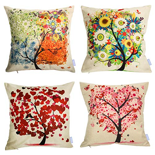 laime Throw Pillow Covers 18x18 inch Set of 4 Pillow Cases Natural Pattern Decorative Pillowcases Home Car Decorative Under The Tree