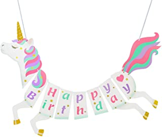 Best Unicorn Happy Birthday Banner - Unicorn Party Supplies Decorations - PREMIUM Unicorn Birthday Party Magical Pastel Design with Sparkle Gold Glitter! NEW for 2020, Cute, Glossy, and Pre-assembled Review