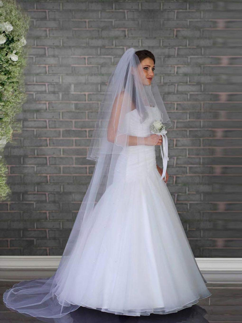 Ursumy Long Wedding Veil Bridal Cathedral Length Veil 2 Tier Soft Tulle Bridemaid Veils with Comb 118