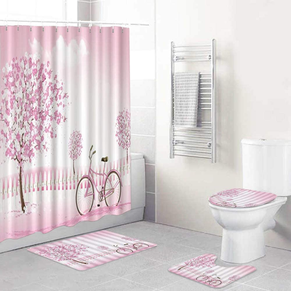 HASENCIV 35% OFF 4 Pcs Shower Curtain Non-Slip Ru Sets Waterproof Special price with