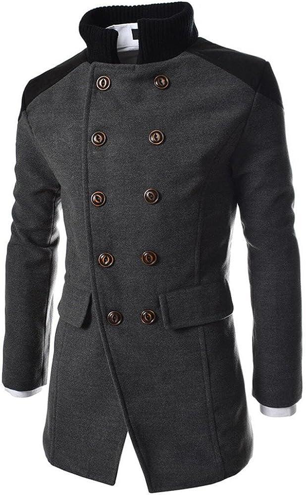 Toimothcn Men Double Breasted Pea Coat Formal Business Blazer Suit Long Jacket Outwear Lapel