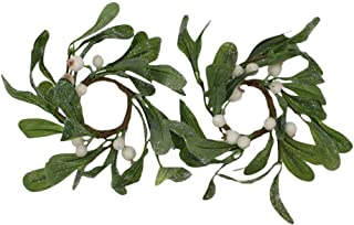 4.5-inch (1.6-Inch Inner Ring) Artificial Dreamy Mistletoe Candlering Candle Ring Set of 2