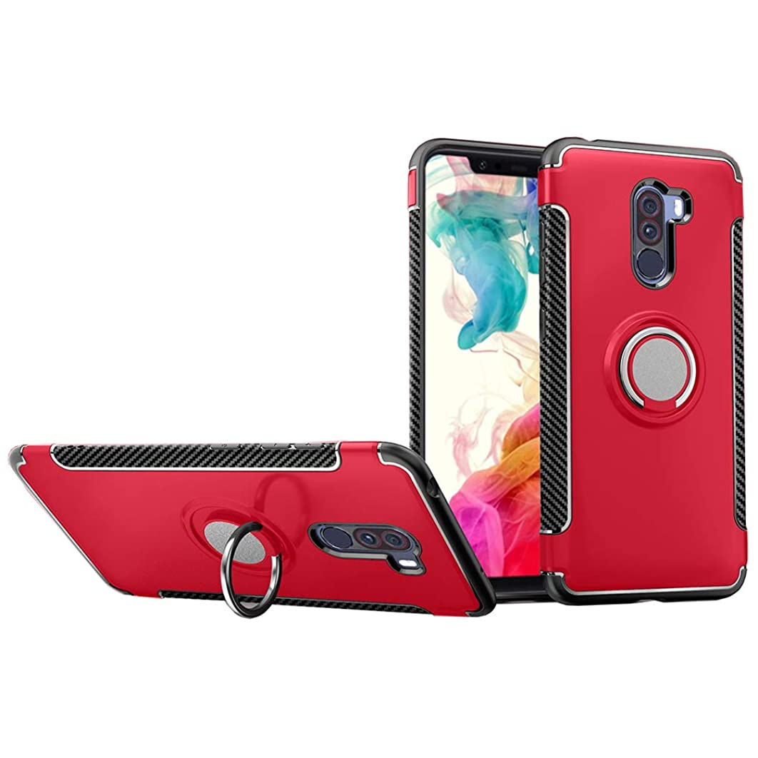 Xiaomi Pocophone F1 Case, QLOA 2 in 1 TPU+PC Double Protection Case Shockproof Cover with 360 Degree Rotating Ring for Xiaomi Pocophone F1 (2018 Release)-Red