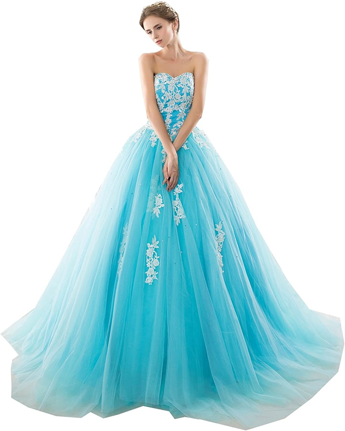 Lavaring Women's Sweetheart Appliques Beading Lace up Court Train Prom Dress