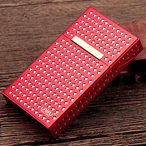 SXFYGYQ Zigarettenschachtel Doppel Aluminiumlegierung Männer Und Frauen Kreative Box Hohlmagnet Saug Flip Metall Zigarettenschachtel Platz 20,D