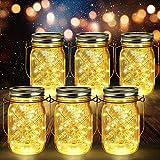 6 Stück Solarlampen für Außen | 40er LED Solar Licht mit Windmühlenmuster für Garten | Solarglas Lichterkette Leuchten Garten Laternen Solarleuchten Wasserdichte Hängeleuchten Gartendeko für Party