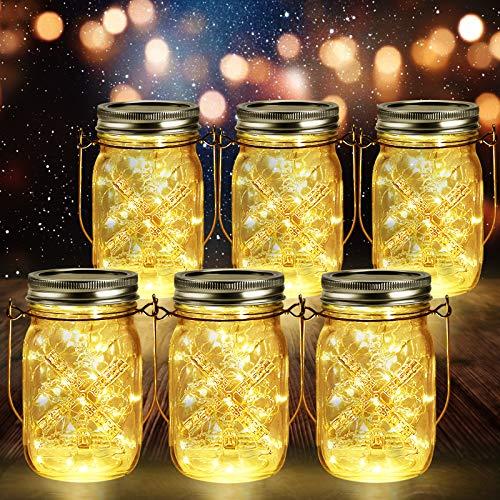 6 Stück Solarlampen für Außen   40er LED Solar Licht mit Windmühlenmuster für Garten   Solarglas Lichterkette Leuchten Garten Laternen Solarleuchten Wasserdichte Hängeleuchten Gartendeko für Party