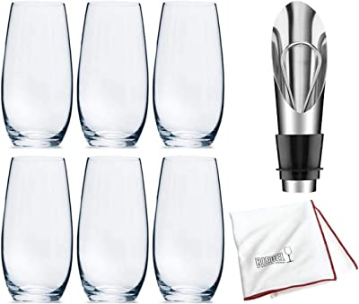 Riedel O Wine Tumbler Champagne, Set of 6 Includes Wine Pourer with Stopper and Polishing Cloth Bundle