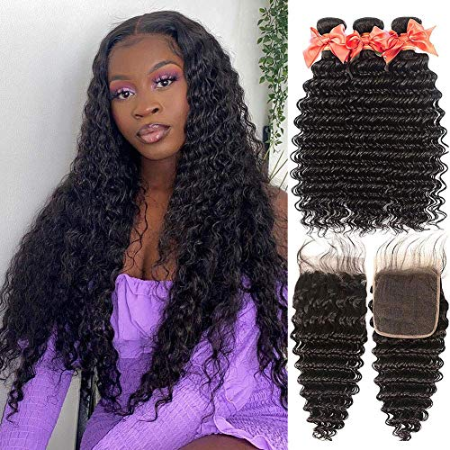 Human Hair Bundles with Closure Brazilian Virgin Hair 3 Bundles with Closure Deep Wave Unprocessed Remy Human Hair Extensions 8 10 12 + 8 inch 4x4 Lace Closure Deep Wave Bundles with Closure
