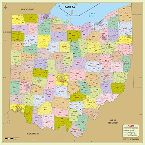 Ohio County with Zip Code Map (36' W x 36' H)