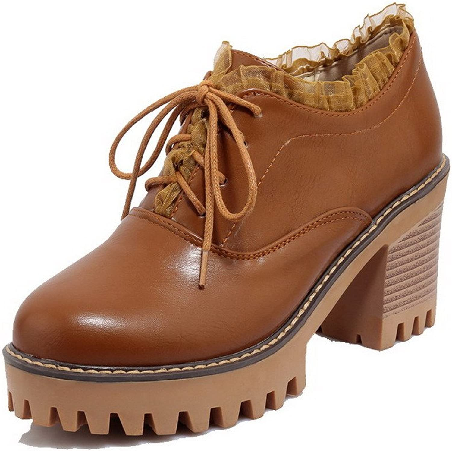 WeiPoot Women's PU Round-Toe High-Heels Lace-up Solid Pumps-shoes