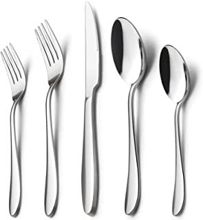Silverware Set, HaWare 40-Piece Flatware Set, Stainless Steel Cutlery Set Service for 8, Mirror Finished, Dishwasher Safe