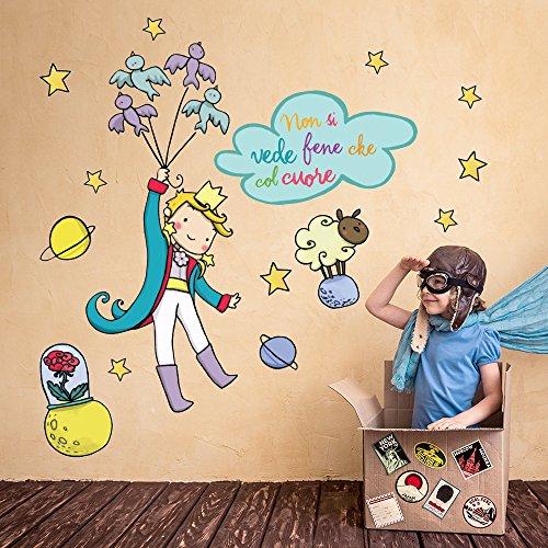 R00136 Adesivo murale per Bambini - Il Piccolo Principe 4 - Misure 30x120 cm - Decorazione Parete, Adesivi per Muro, Carta da Parati Adesiva Effetto Tessuto