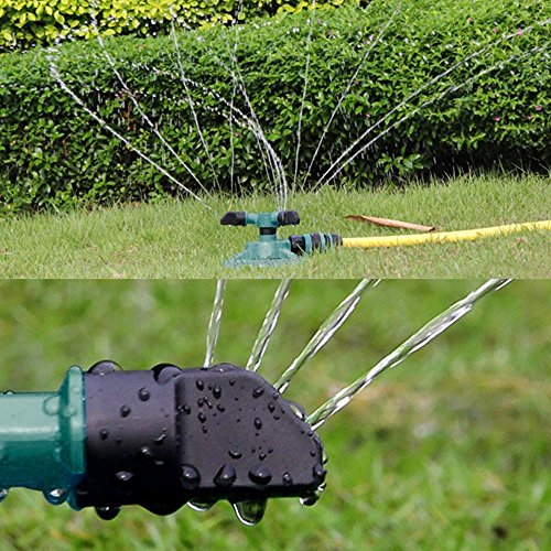 "KANGMOON Lawn Sprinkler, Automatic Garden Water Sprinklers Lawn Irrigation System Coverage Rotation 360 Degree - 12 Built-in Spray Nozzles (Green, 5.9"" x 3.54"")"
