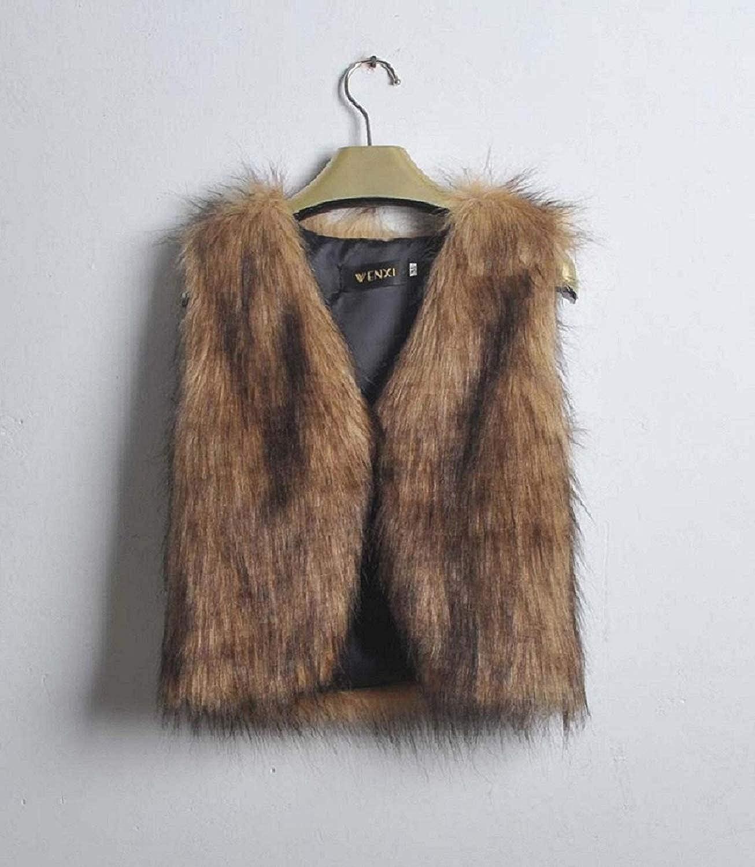 Fellweste Damen Herbst Winter Pelzweste /Ärmellos Bekleidung Flauschigen Warme Festival Jungen Party Kurz Weste Young Fashion Trendigen Outwear