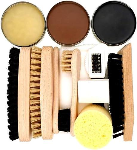 DELARA Ensemble de cirage pour chaussures 12 pièces avec brosses en bois et poils naturels et trois boîtes de entreti...