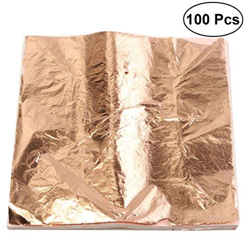 ultnice Leaf Blatt Nachahmung Gold Silber Leaf Folie für Art Crafts Vergoldung, 100Stück (Kupfer Farbe)