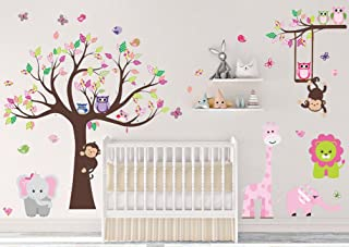 Dekosh Kids Pink Jungle Theme Peel & Stick Girl Nursery Wall Decal Colorful Owl Giraffe Lion Tree Decorative Sticker for Baby Bedroom Playroom Mural