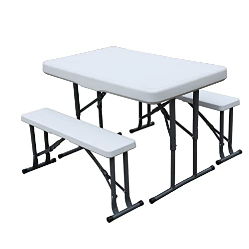 DlandHome 105 * 64.5cm Ensemble bancs et Table de Jardin Camping Table avec 2 Bancs Table Set Pliante Plastique Barbecue Table de Buffet Bière