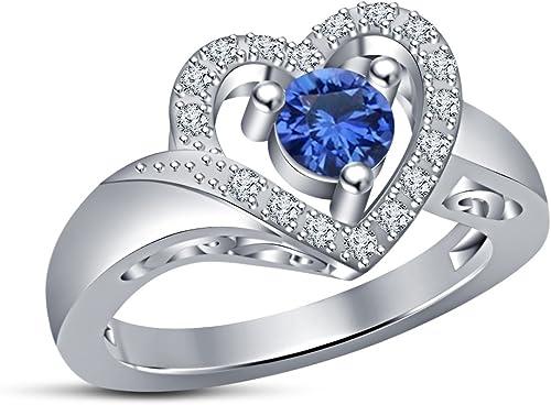 envío rápido en todo el mundo Vorra Fashion - Anillo de plata de ley 925 925 925 con forma de corazón y zafiro azul de corte rojoondo  productos creativos