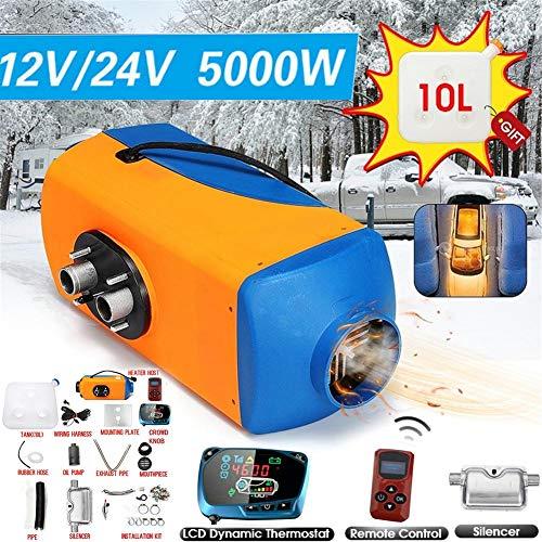 Diesel verwarming voor auto, dieselverwarming, verwarming 12 V, 5 kW, verwarming 12 V met knopbediening, diesel Air Heater verwarming voor bestelwagen, vrachtwagen, blauw en oranje 24 V