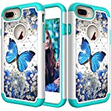 iPhone 8 Plus Case, iPhone 7 Plus Case, Ankoe Glitter 3D Diamond Studded Rhinestone Painted Series Dual Layer Shockproof Hybrid Defender Case for iPhone 8 Plus/ 7 Plus/6s Plus/6 Plus (Blue Butterfly)