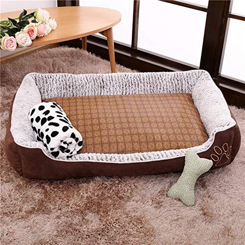 Feestelijke hond Pet Puppy Kat Bedden Slaapbank Bed Kussen Manden Puppy Mand Kussen Bed Kussens voor Kleine Medium Honden Katten Huisdieren Puppies Dieren Wasbaar, S(50*38*16cm), Koffie Set
