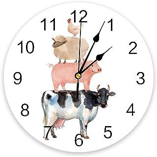 Infinidesign Farm Animal PVC Wall Clock, Silent Non-Ticking Battery Operated Clocks, Round Clock for Home Office School Ki...