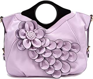 Trendy Lady Flower Bag Ethnic Style Handbag Solid Color Flower Shoulder Bag Zgywmz (Color : Purple, Size : 40 * 14 * 34cm)