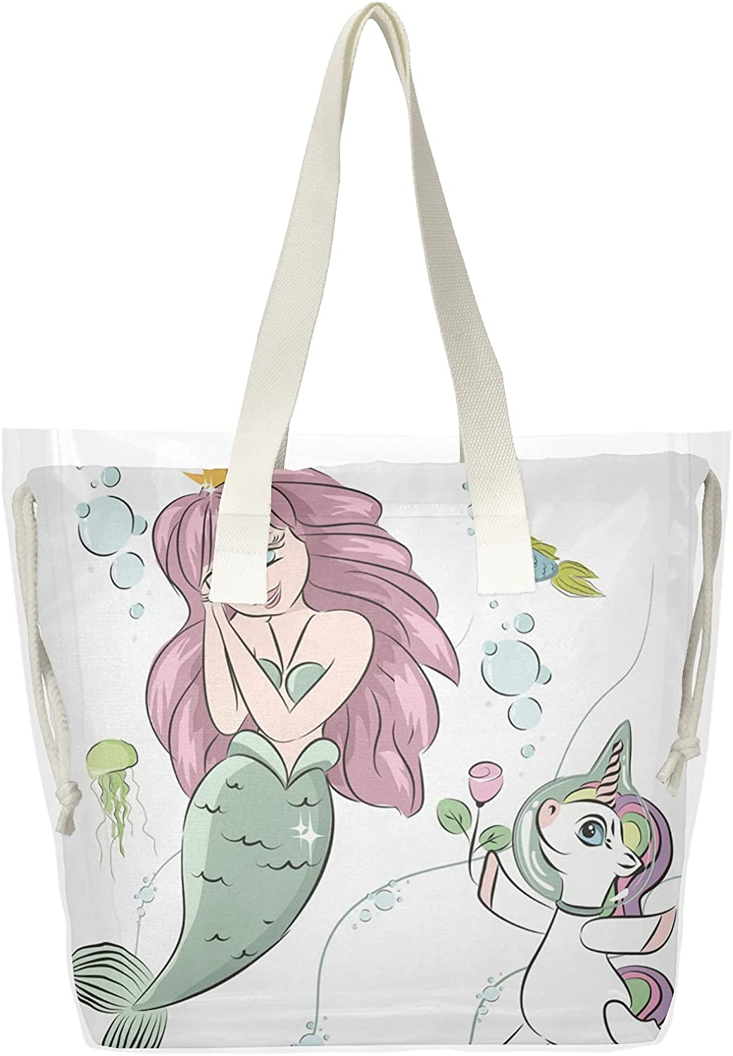 Beautiful Philadelphia Mall Mermaid And Unicorn Women Han Bags Clear Tote Shoulder Opening large release sale