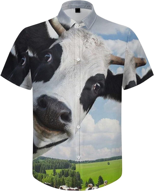 Men's Short Sleeve Button Down Shirt Cow Cute Forest Cloud Summer Shirts