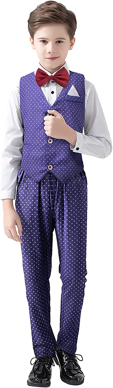 Little Boys Tuxedo Suits Kids Button Down Bowtie Shirt & Pants & Vest Set Children Gentleman Wedding Party Dress