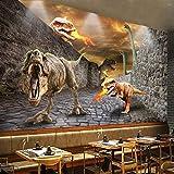 3D Photo Wallpaper Stereoscopic Personality Poster Dinosaur Break Wall Mural Hotel Restaurant Bedroom Background Decor 250(Ancho) X175(Alto) Cm