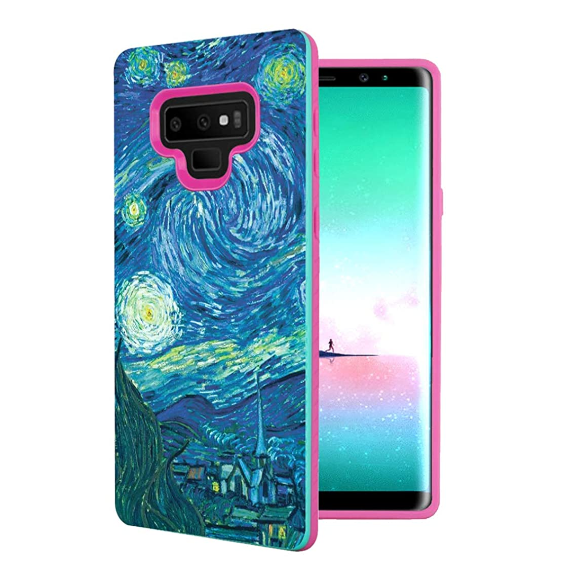 Capsule Case Compatible with Galaxy Note 9 [Shock Absorption Diagonal Lines Hybrid Slim Armor Support Wireless Charging Mint Pink Case] for Samsung Galaxy Note 9 - (Starry Night)
