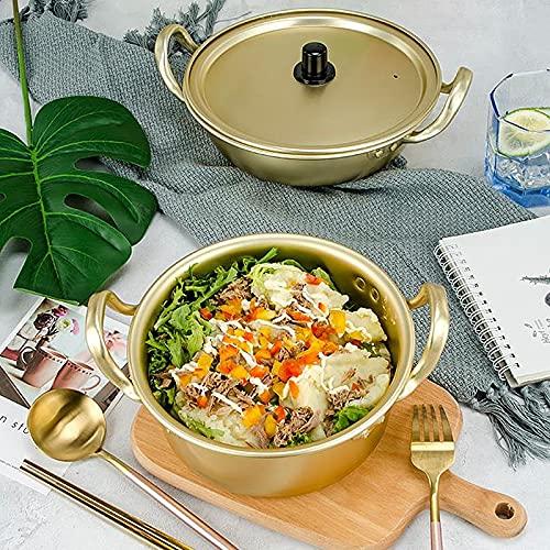 Golden Kitchen Tools - Olla de cocina para fideos de Ramen coreano, olla de sopa de aluminio con tapa, fideos con leche, huevo, sopa de sopa rápida (color: 18 cm)