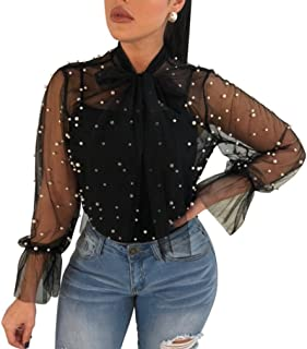 Women Tops Daoroka Ladies Sexy Long Sleeve Turtleneck Transparent Blouse Casual Loose Summer Autumn Pullover Solid Tunic Fashion T-Shirt