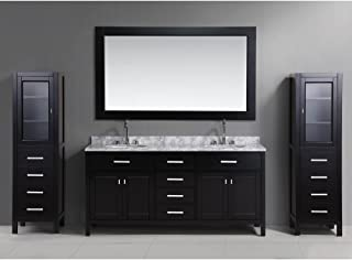 Design Element DEC076B_CAB004X2 London Double Sink Vanity Set with Two Matching Linen Cabinet, 72-Inch, Espresso