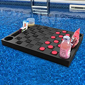 Polar Whale Floating Checkerboard Table Drink Holder for Swimming Pool or Beach Party Float Lounge Refreshment Durable Black Foam UV Resistant with Cup Holders 2 Feet Wide Includes Checkers