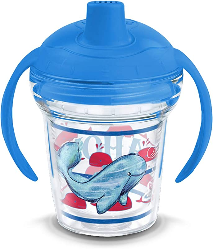 Tervis 1318907 Ahoy Whale Pattern Insulated Tumbler With Wrap And Lid 6 Oz Sippy Cup Tritan Clear