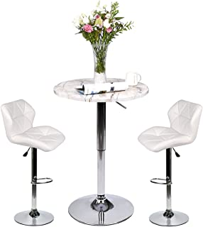 Pub Table Set 3 Piece - 24 inch Round Table with 2 Leatherette Chairs - Height