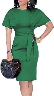 Women's Casual Pencil Dress Belt Elegant Short Sleeve Dress Wear to Work