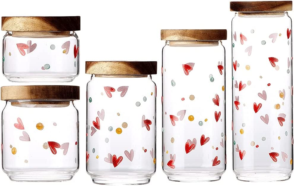 Agal Container Rapid rise Set Glass Jars of with Cute Spice Wood Safety and trust 5