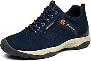 Men's Invisible Increase 2.36in Casual Leather Shoes Lace up Running Shoes senakers