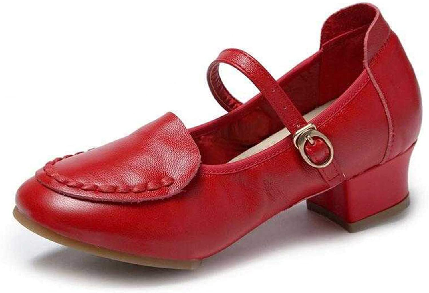 [Comfy] Women Closed Toe Low-Heeled Pumps Non-Slip Buckle Salsa Swing Dance shoes