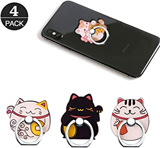 Phone Ring Holder Stand, Lucky Cat Phone Ring Stand Holder 360 Rotation Finger Ring Grip Stand for Cellphones,Smartphones and Tablets (4 Pack Lucky Cat Phone Ring Stand)