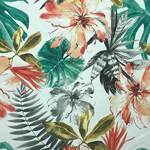Kt KILOtela Tela de loneta Estampada Digital - Half Panamá 100% algodón - Retal de 100 cm Largo x 280 cm Ancho   Plantas Tropicales - Rojo, Verde, Negro ─ 1 Metro