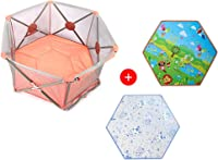 Baby playpen-SYY Pink Children's fence Private Amusement Park Stable Structure Easy To Install Foldable Includes Ice Silk Mat Crawling Mat