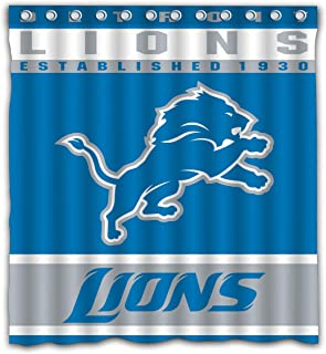 Potteroy Detroit Lions Team Design Shower Curtain Waterproof Polyester Fabric 66x72 Inches