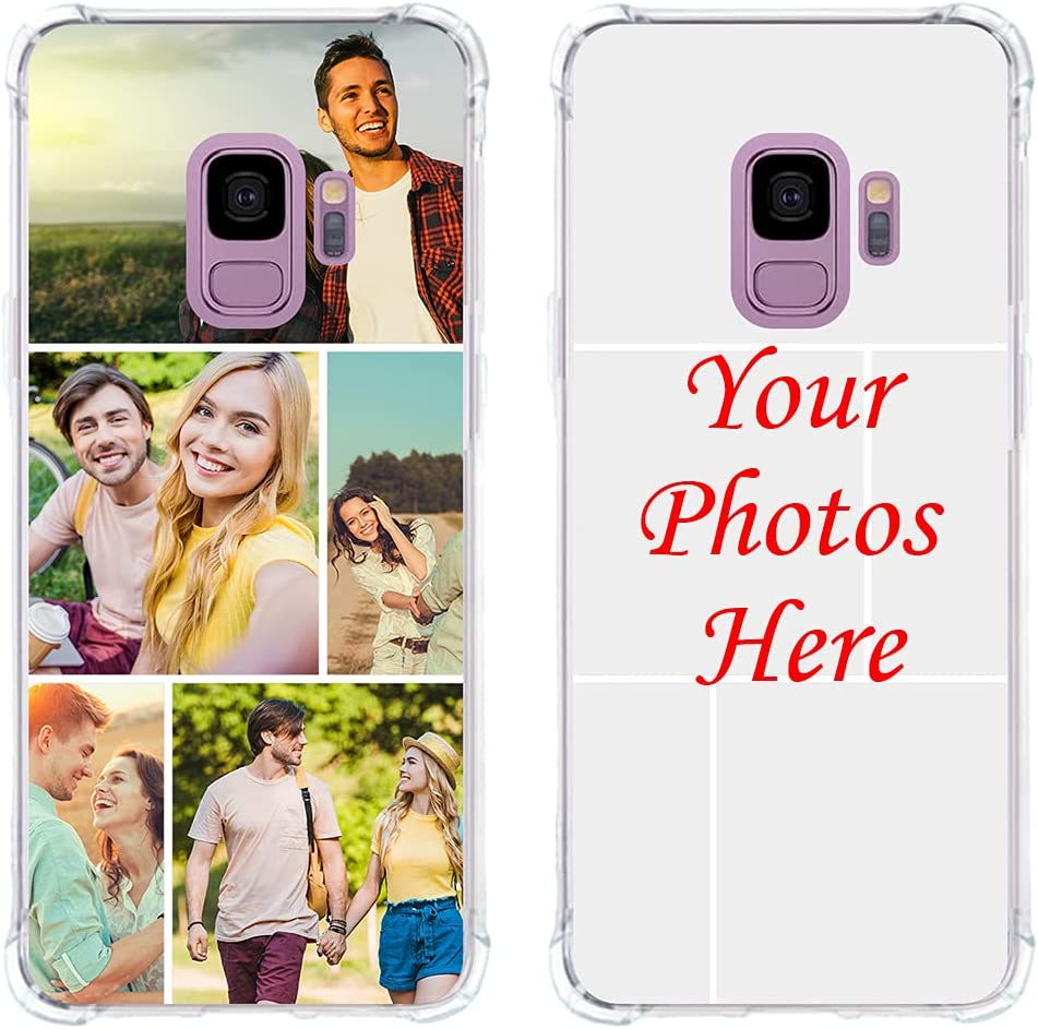 Custom Phone case for Samsung Galaxy S9, Multi-Photo case with Bumpers TPU Ultra Thin Photo case Personalized Multi-Picture Collage case Ture fit Phone case for Galaxy,Clear